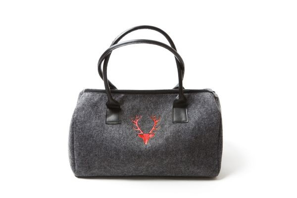 Damenhandtasche Dunkelgrau | Hirschkopf - rot bestickt
