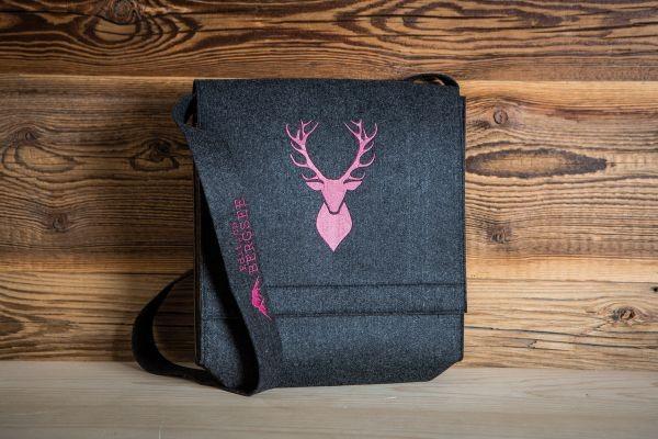 Umhängetasche grau | Hirschmotiv - pink bestickt
